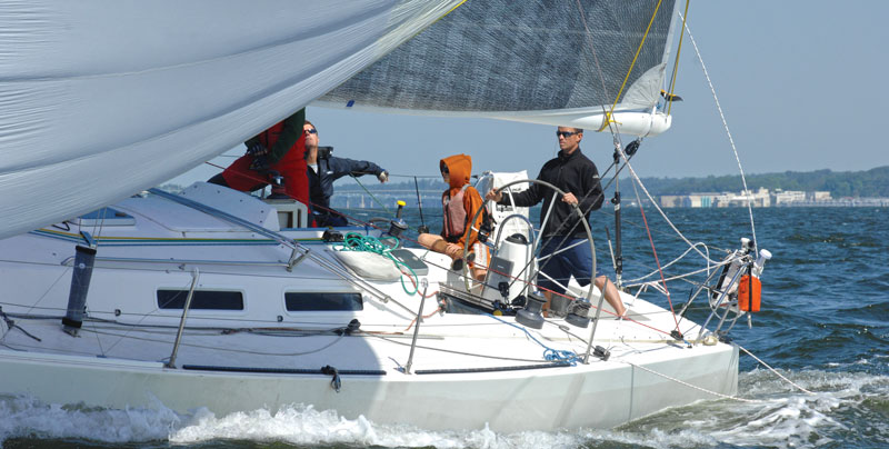 Greg Leonard's J/120 Heron at the Down the Bay Race start 2015. Photo by SpinSheet