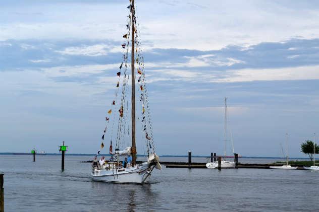 Skipjack Wilma Lee enters her new home waters, Back Creek in Annapolis.